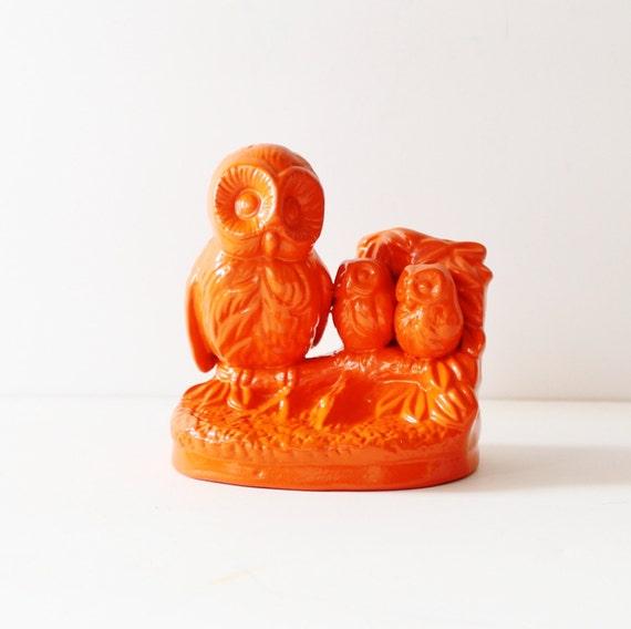 Orange Owl Family Upcycled Ceramic Figurine - Kitsch - Vintage Figure