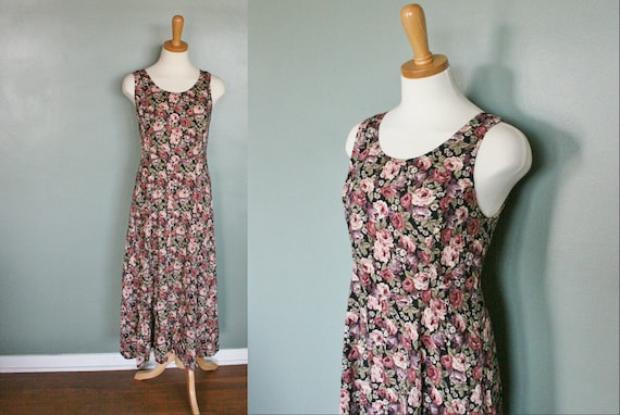 Vintage FLORAL Sun Dress with Corset Back - Women Medium - Early 90s