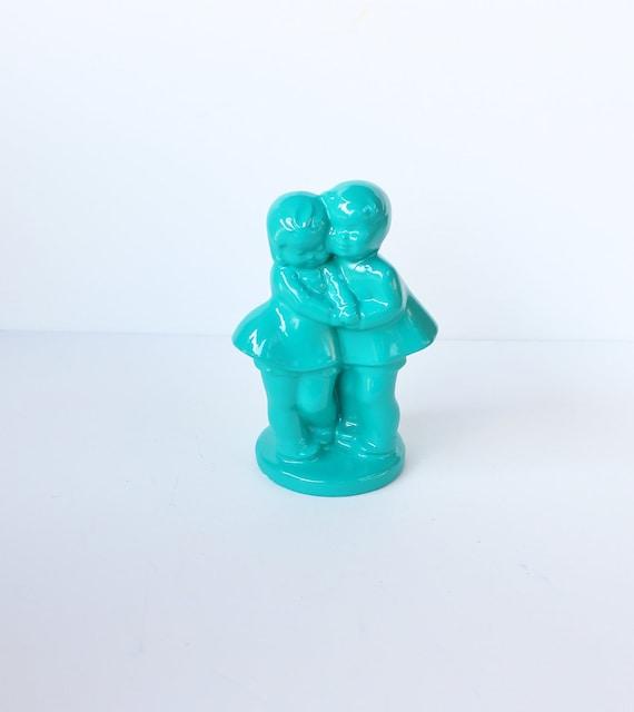 Vintage Couple in Love Flower Vase - Jade Green - Upcycled