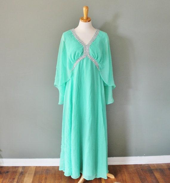 Vintage 70s GREEK GODDESS Mint Green Dress - Women L - Evening Gown
