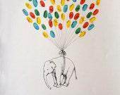 Elephant Balloon, Original guest book thumbprint balloon art (inks available separately)