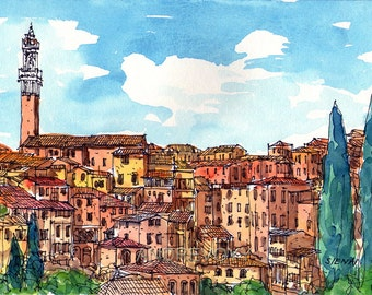Siena Italy art print from an original watercolor painting