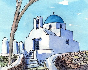 Sifnos Chapel Greece art print from an original watercolor painting