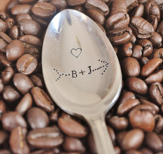 Personalized Lovers Coffee Spoon - Custom Initials Through Arrow -  Hand Stamped Vintage Spoon for COFFEE LOVERS