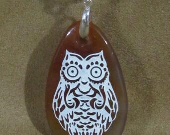 Stone Pendant Sandblasted Owl Necklace