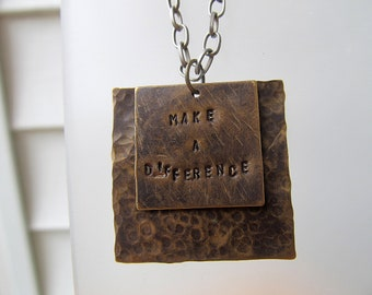 Hand Stamped Inspirational Necklace - Make a Difference