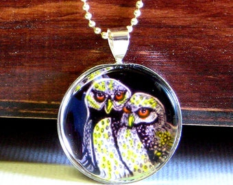 "Celtic, Victorian, Nature, Wildlife - ""Baby Owls"" - Mini-art, silver plated pendant and serpantine chain NECKLACE"