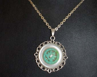 Vintage White and Green Button Pendant