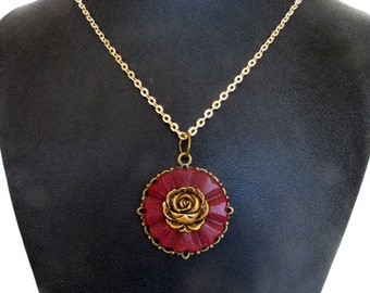 Wine Colored With Gold Rose Vintage Button Pendant Necklace