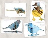 bird postcard set, bird silhouette art, set of 4,  yellow, cyan blue, woodland decor, duck, magpie, sparrow print whimsical animal postcards