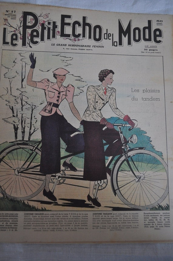 1930s Parisian Fashion Magazine for Inspiration, Collections, Collage, Scrapbooking, Decoupage-1937