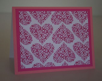 Breast Cancer Awareness Note Card-  Pink Ribbon Hearts