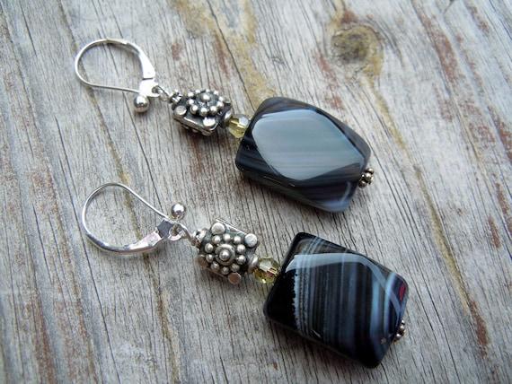 Black Stripe Agate Earrings