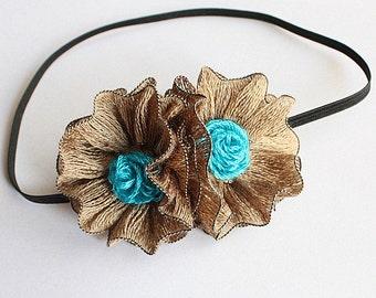 Crochet Pattern / Tutorial / Headband/Bobby Pin/ Two Flowers (all sizes)