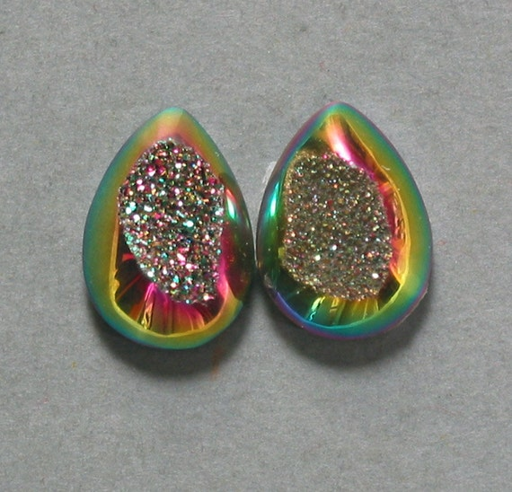 Agate Druzy drop pear cabochons two 13X17mm designer cab C2