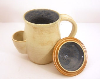 Mug, Tea Drinker's Sidekick, Cup With Lid In Cream and Blue - Made to Order