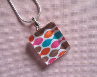 Retro Print Bright Colors Pendant with Silver Chain Necklace