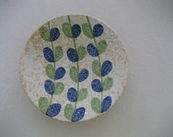 handmade vintage plate with cool glaze, handpainted modern leaf motif
