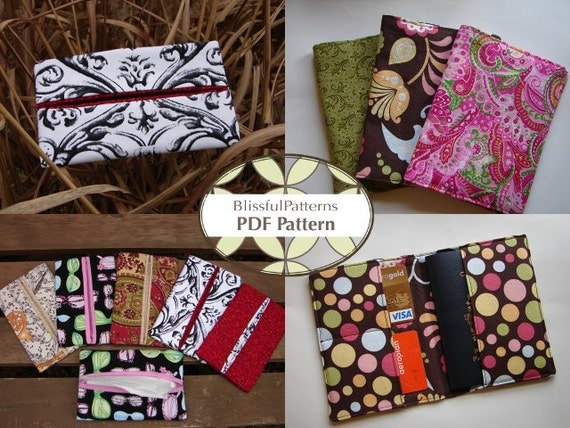 2 Pattern Bundle - Passport Holder & Tissue Holder PDF Sewing Patterns - INSTANT DOWNLOAD- by BlissfulPatterns
