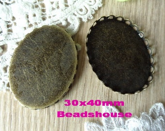 10pcs(30x40mm) High Quality Antique Brass Lace Round Cabochon Setting,