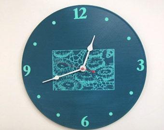 Tide Pool Teals Wall Clock olyteam