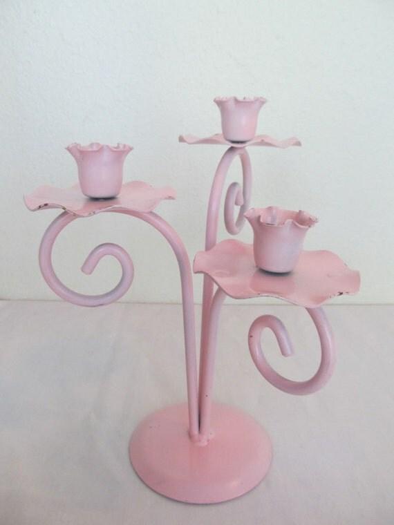 Vintage Pink Metal Daffodil Trio Candleholder