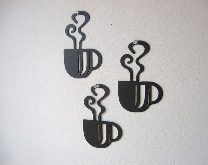 Coffee Cup Trio Metal Wall Decoration