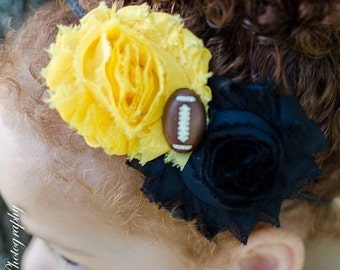 University of Missouri Tigers Football Black & Yellow Double Flower Baby Headband -  Newborn - Infant - Toddler - Girl - Adult - Photo Prop