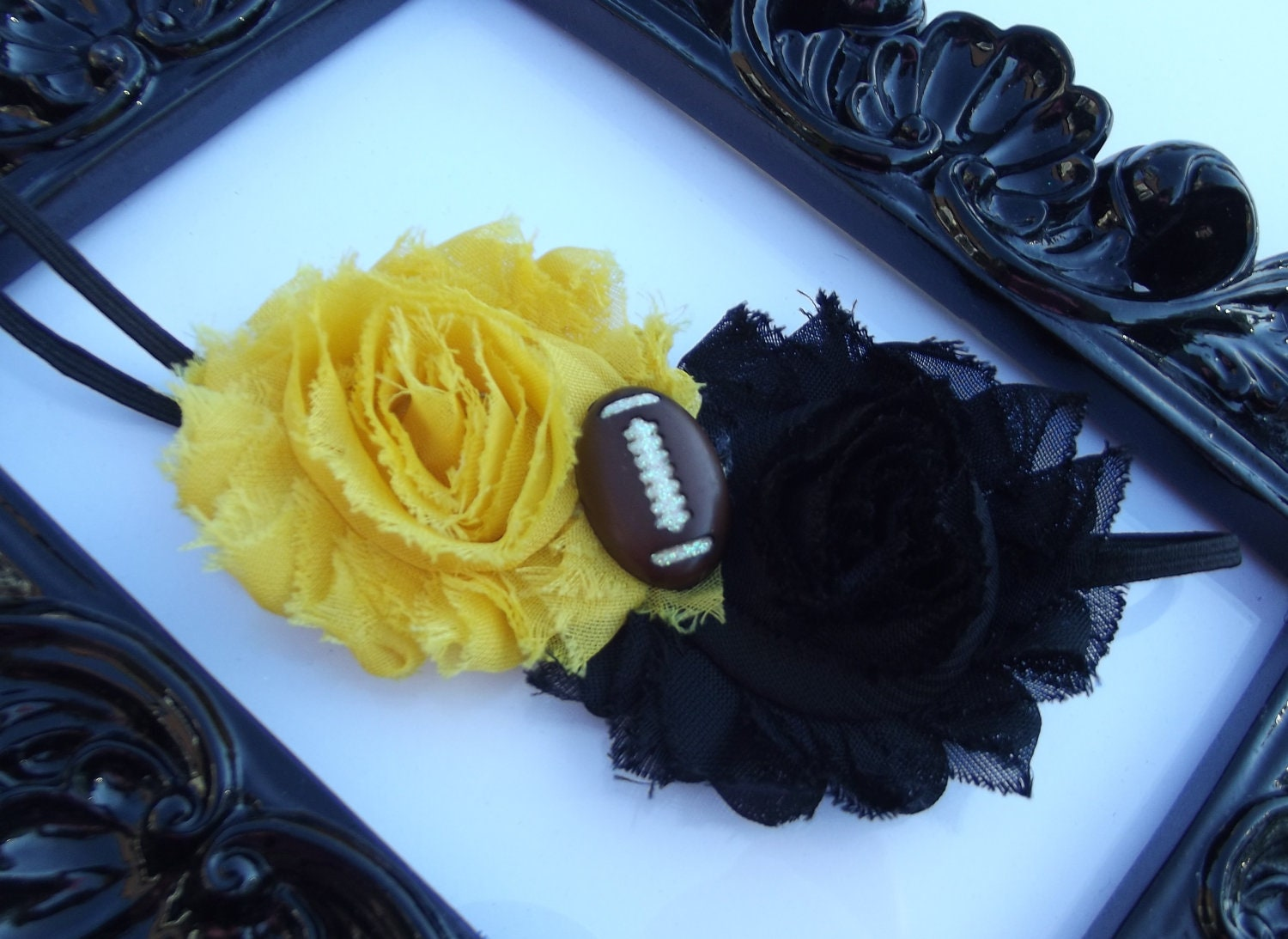 pittsburgh steelers shabby chic black yellow by hairnonsense. Black Bedroom Furniture Sets. Home Design Ideas