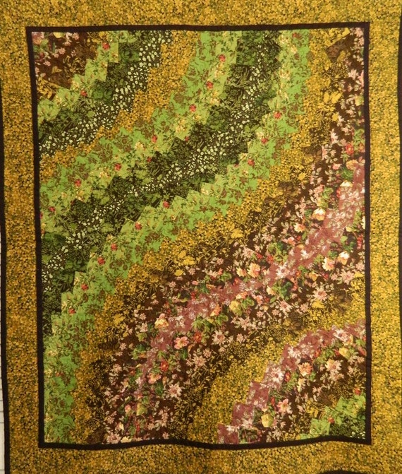 Down the Primrose Path Quilted Bargello Wall Hanging/Couch Throw