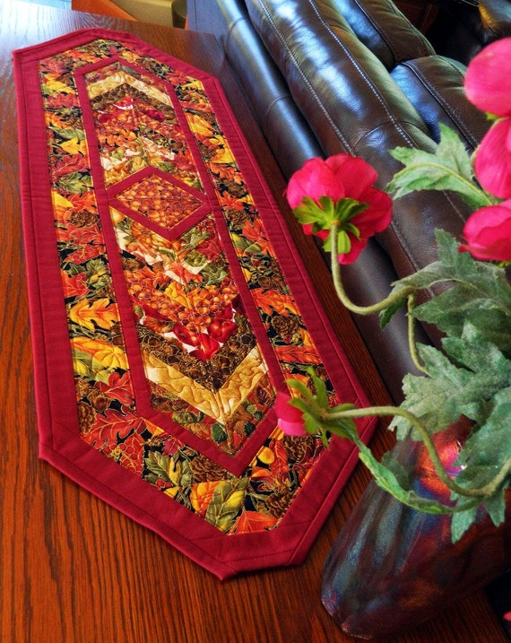 Handcrafted Autumn Leaf Table Runner