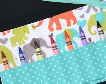 Aqua Elephant Crayon Roll Party Favor - Elephant Birthday - Kids Birthday Party Favor - Crayon Holder - Circus Favor