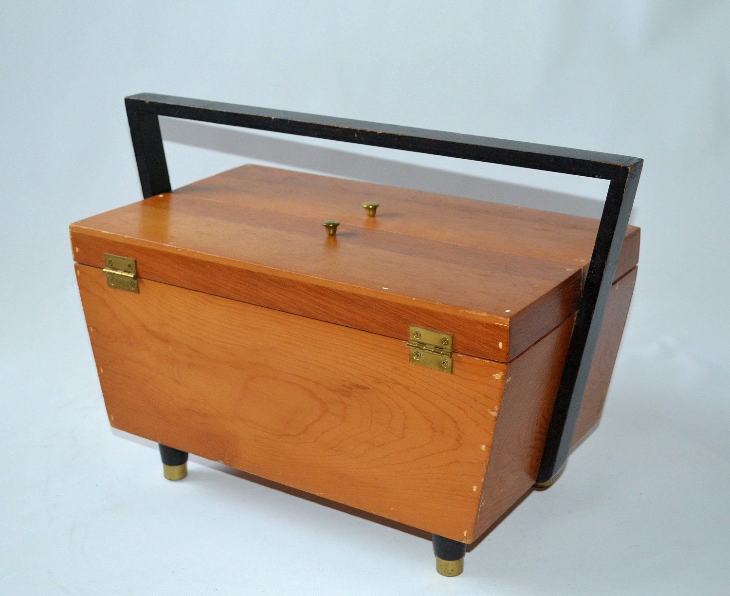 Vintage Mid Century Modern Wood Sewing Box