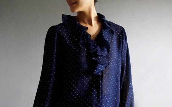 navy swiss dot ruffle blouse xl