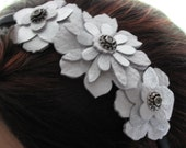 White Flower Headband - White and Silver Leather - Floral Hair Accessory - Fascinator