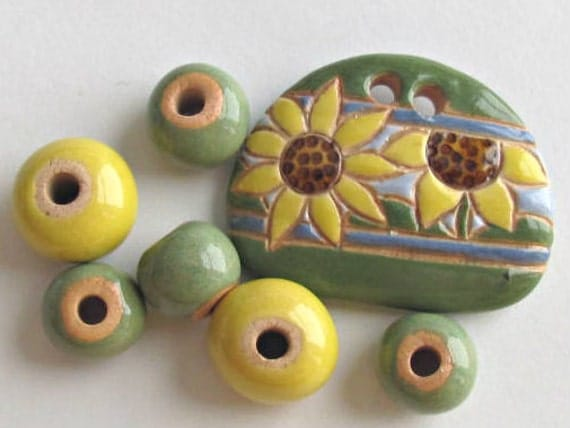 Sunflower Pendant with beads