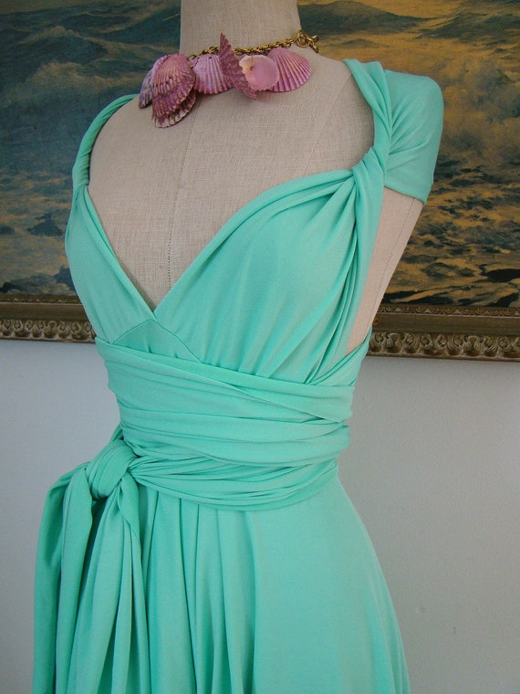 """Ready to SHip- 24"""" Gidget Mint Octopus Infinity Convertible Wrap Dress- Last of Fabric"""