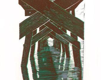 SOLITUDE  Linocut Hand Pulled Print Signed ORIGINAL