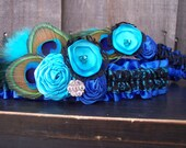 Turquoise Blue and Royal Blue Peacock Wedding Garters, Rosette garters