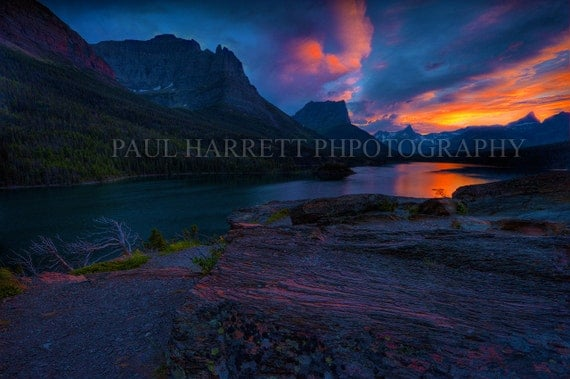 Fine Art Photography - Photo Art - Outdoor Photography -  Lake St Marys -Glacier Naional Park- Montana -16 x 24 prints