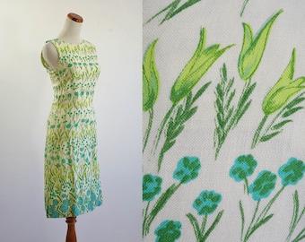 Vintage Linen Dress, 60s Dress, Green and Blue Floral Dress, Shift Dress, Sleeveless Summer Dress, Garden Party Dress, Bust 32 XS Small