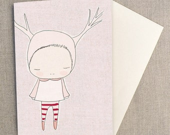 "Greeting Card - Deer Girl Pink and Red Socks - C6 greeting card 11w x 15.5 h cm (4.4x6.1"")."