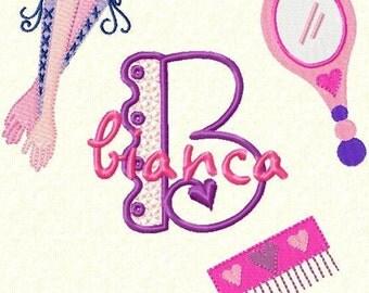 Girly Princess Monogram Font Alphabet - Machine Embroidery Designs
