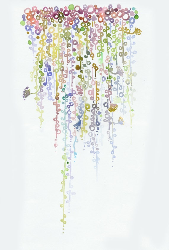 Watercolor painting, cactus illustration,  string of pearls titled: green and dusty pink