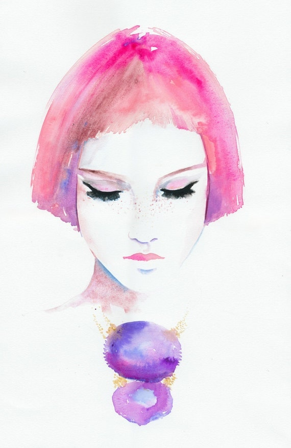 Fashion Illustration, Watercolour Fashion Illustration - Titled: Roze