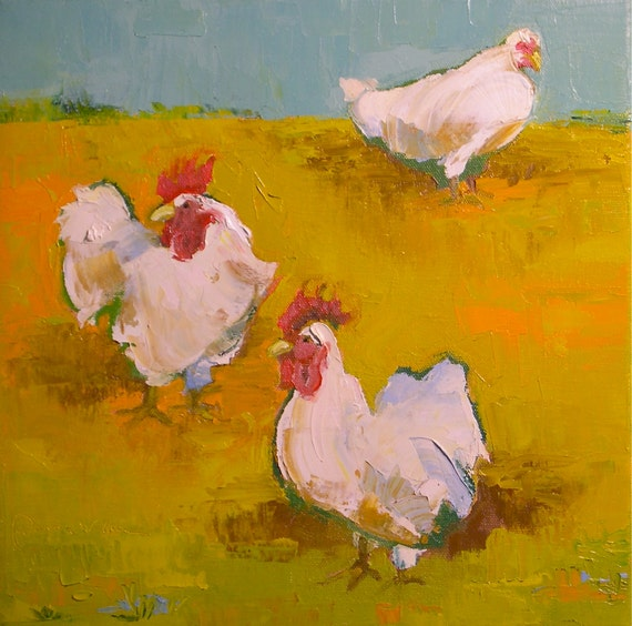 Walk On By- Oil Painting on Canvas- 12x12 Original - Chickens, Farm Animals