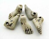 10 High fired Foot Beads - Ceramic Beads - Peruvian Beads - Body Beads - Sports Beads