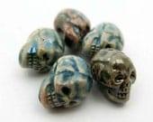 10 Raku Skull Beads - vertical