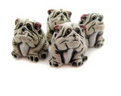 10 Large White Bulldog Beads