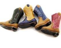 10 Large Ceramic Cowboy Boot Beads - mixed - LG382M